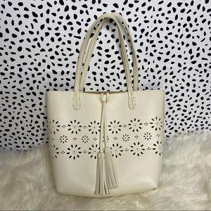 Floral Cutout Detail Tote Shoulder Bag Purse